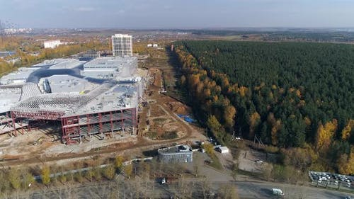 Aerial view of Construction of a shopping complex and an industrial building 08