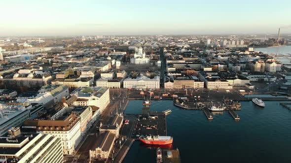 Helsinki City with Contemporary Buildings and Wide Harbor