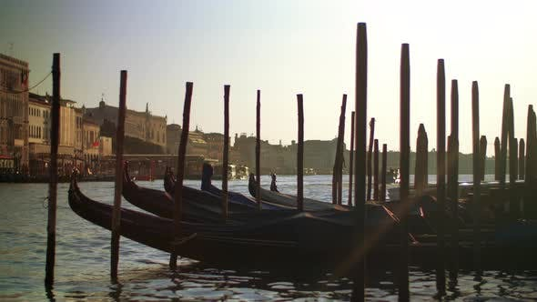 Thumbnail for Gondola Boats in Venice Italy in Their Moorings