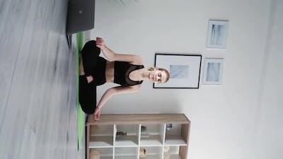 Online Meditation Home Yoga Peaceful Woman Laptop