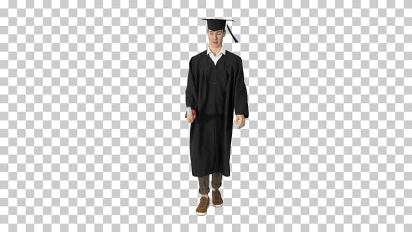 Graduate student smiling and walking with diploma, Alpha Channel