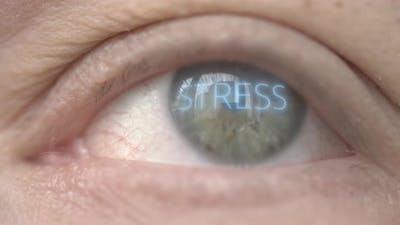 STRESS Word on Human Eye Reflecting Cityscape