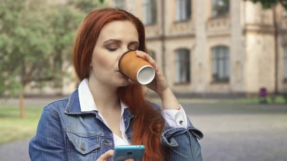 Female Student Drinks Coffee on Campus - product preview 0