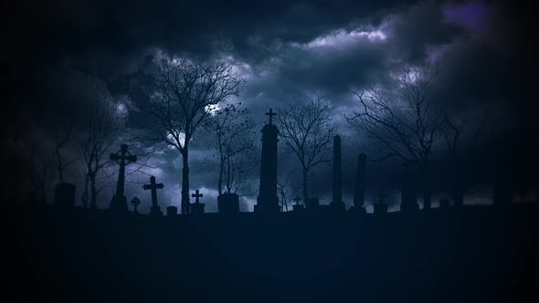 Thumbnail for Mystical halloween background with dark clouds and grave on cemetery