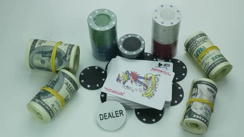 Deck of Cards for Poker and Playing Chips on the Table