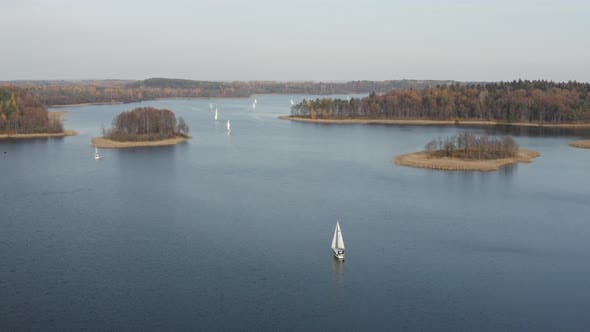 Thumbnail for Autumn Vacation. Calm Autumn Fall Season over Lake with Sailing Boats