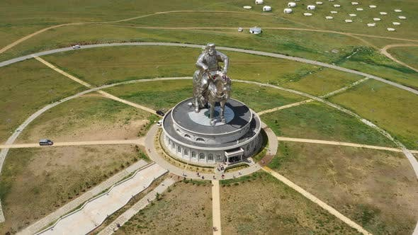 Thumbnail for Aerial Around View of Statue of Genghis Khan