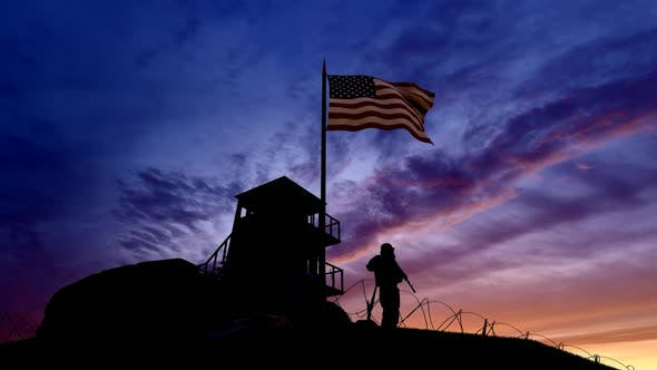 Thumbnail for American Soldier On The Border At Night At The Border