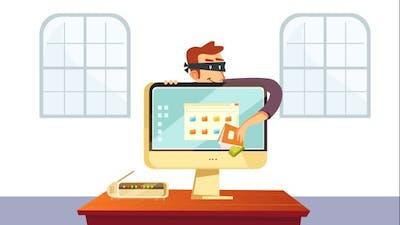Hacker Stealing Money and Data