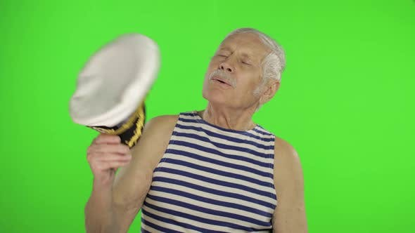 Thumbnail for Elderly Sailor Man with Mustache. Old Sailorman on Chroma Key Background