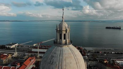 Lisbon Cathedral Against Picturesque City and River Estuary