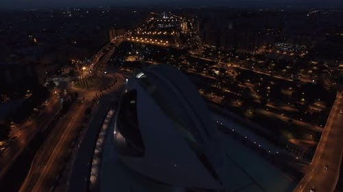 Night Aerial Valencia View with City of Arts and Sciences
