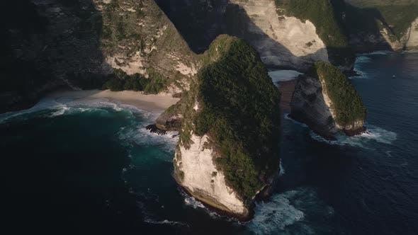 Aerial View of Kelingking Beach in Nusa Penida Island