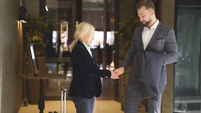 Business Man and Woman Greet Each Other Shake Hands