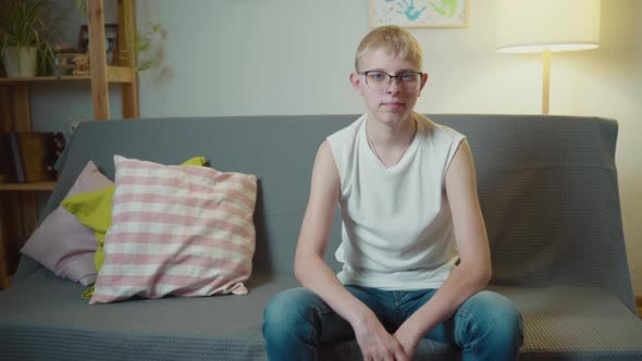 Thumbnail for Portrait Young Cute Guy Queer With Glasses