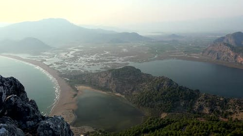 Delta, Swamp, Wetland, Sea and Plain View From The Forested Mountain Peak