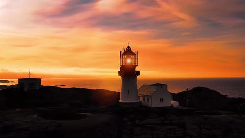 Coastal Lighthouse, Lindesnes Lighthouse Is a Coastal Lighthouse at the Southernmost Tip of Norway