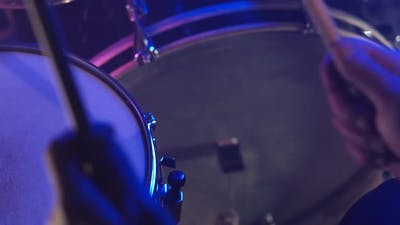 Drum Sticks And Two Drums Close Up