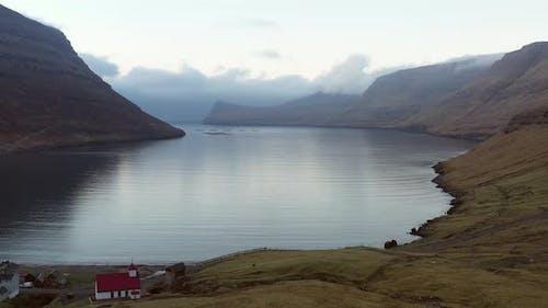 Drone Over Village Of Arnafjordur