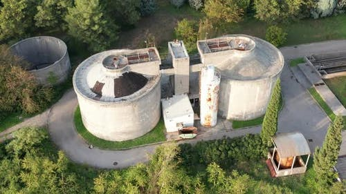 Concrete septic tanks in sewage treatment plant - removing contaminants from municipal wastewater