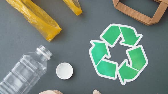 Thumbnail for Green Recycle Symbol with Household Waste on Grey 17