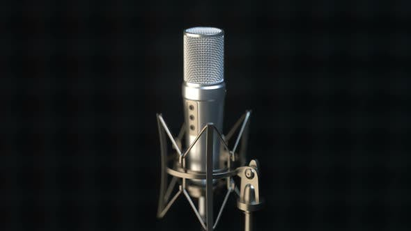 Cover Image for Camera Approaching Professional Microphone in Sound Recording Studio