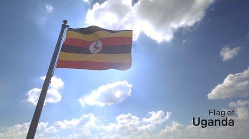 Uganda Flag on a Flagpole V4