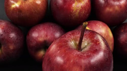 Dolly Shot Of Red Sweet Apples