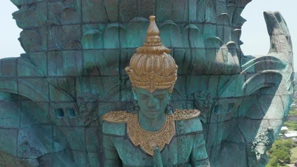 Face of Hindu Deity Vishnu in Garuda Wisnu Kencana Statue in Bali Indonesia