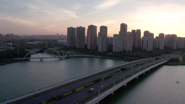 Thumbnail for Sunrise with residential buildings. Aerial in Suzhou, China