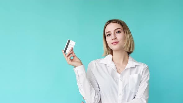Secure Payment Bank Service Woman Credit Card Cvv