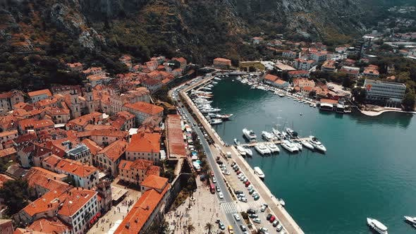 Flight Over Old Town of Kotor in Montenegro