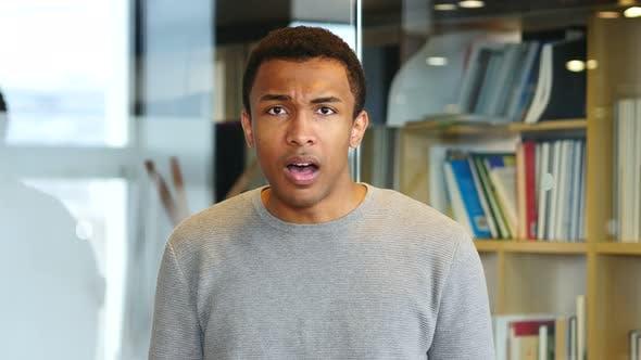 Shock, Depressed Afro-American Man, Portrait
