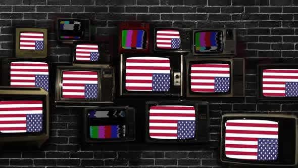 Upside Down American Flags on Retro TV Stack.