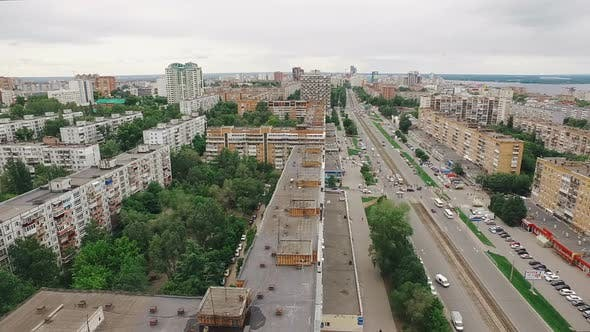 Thumbnail for Aerial View of Samara City, Over Roofs of Houses, Tram Lines and Crossroads Junction