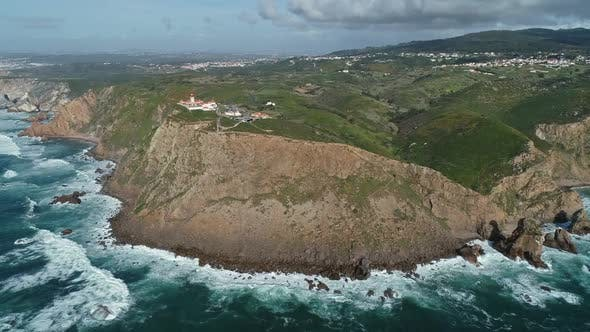 Aerial View of Lighthouse at Cape Roca in Portugal