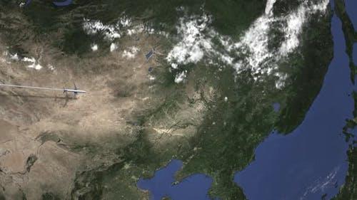 Flugzeug Fliegen nach Harbin China auf der Karte