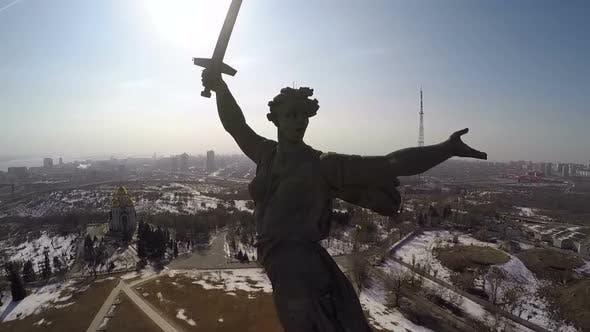 Thumbnail for Mamaev Kurgan on Bright Sunny Day, Aerial View