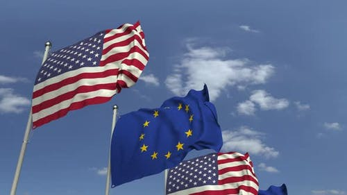 Waving Flags of the EU and the USA on Sky Background, Loopable 3D Animation