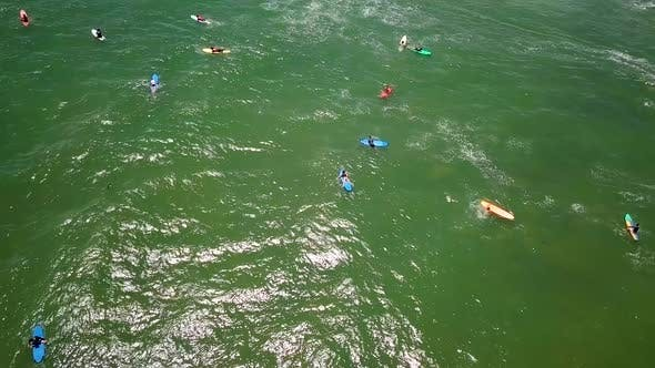 Thumbnail for Aerial View of People Surfing in Ocean