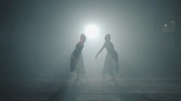 Thumbnail for Two Graceful Professional Ballerinas Dancing Elements of Classical Ballet in the Dark. Ballet