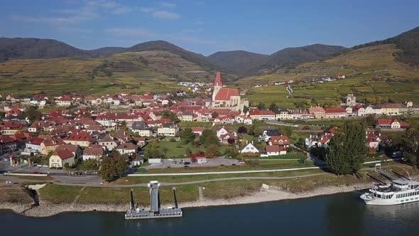 Thumbnail for Aerial of Weisenkirchen, Wachau Valley, Austria