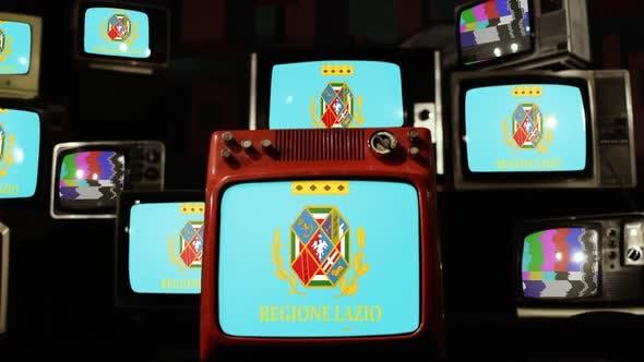 Flag of Lazio, Italy, and Retro TVs.