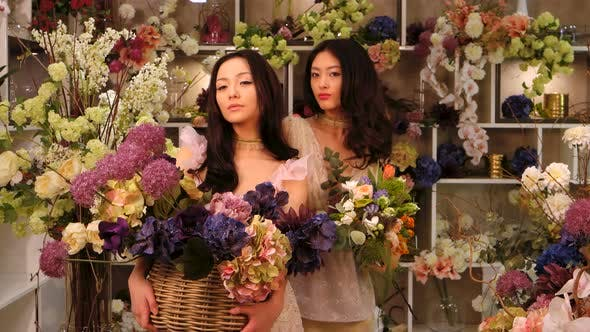 Thumbnail for Florists. Asian Women Happy Working in Flower Store