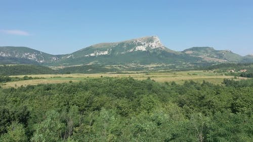 Summer scenery with Stol mountain in Eastern Serbia 4K aerial video