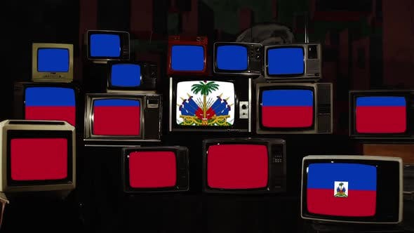 Haiti flags and Vintage Televisions.
