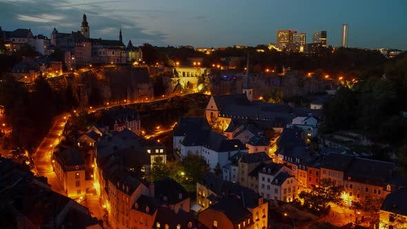 Old town of Luxembourg City at night.