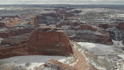 Snow covered sandstone canyons