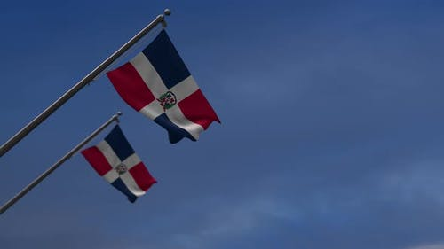 Dominican Republic Flags In The Blue Sky -4K