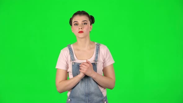 Thumbnail for Shocked Woman with Fear in Eyars on Green Screen